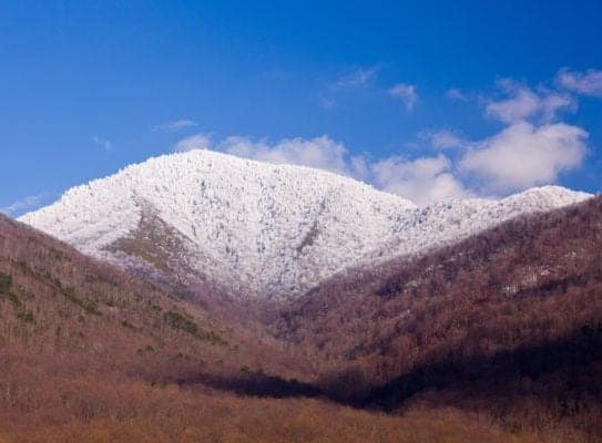 Famous Smoky Mountain view of Mount Leconte covered in snow in early spring
