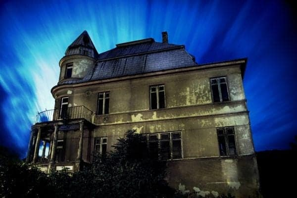 old scary house blue blue light