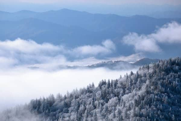 Smoky Mountains covered in snow in the winter