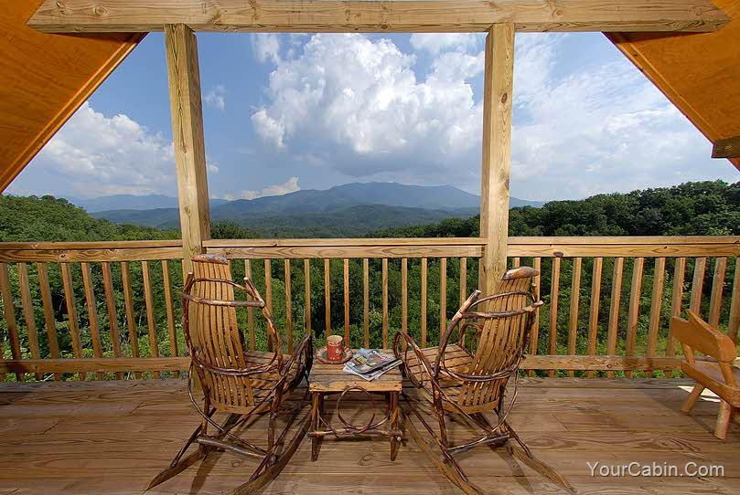 mountain view from smoky mountain cabin deck