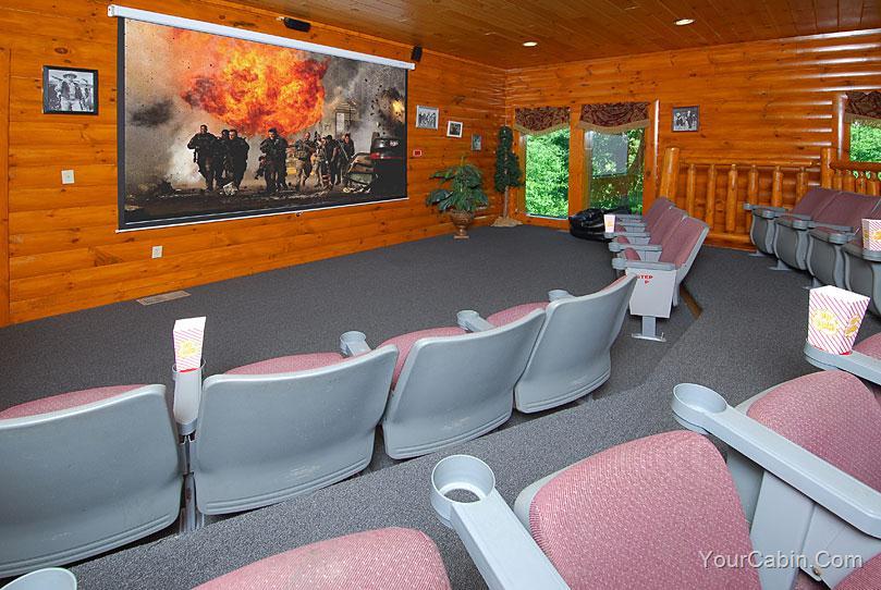 Movie room in Large Gatlinburg Cabin