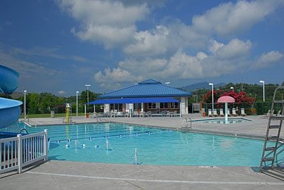 Pigeon Forge Community Center Swimming pool nestled in the Great Smoky Mountains