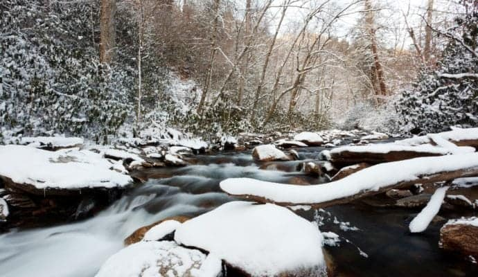 Snowy stream in the Smoky Mountains