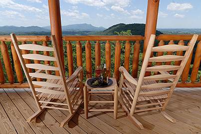 View of the Smoky Mountains from the deck of a cabin in Gatlinburg