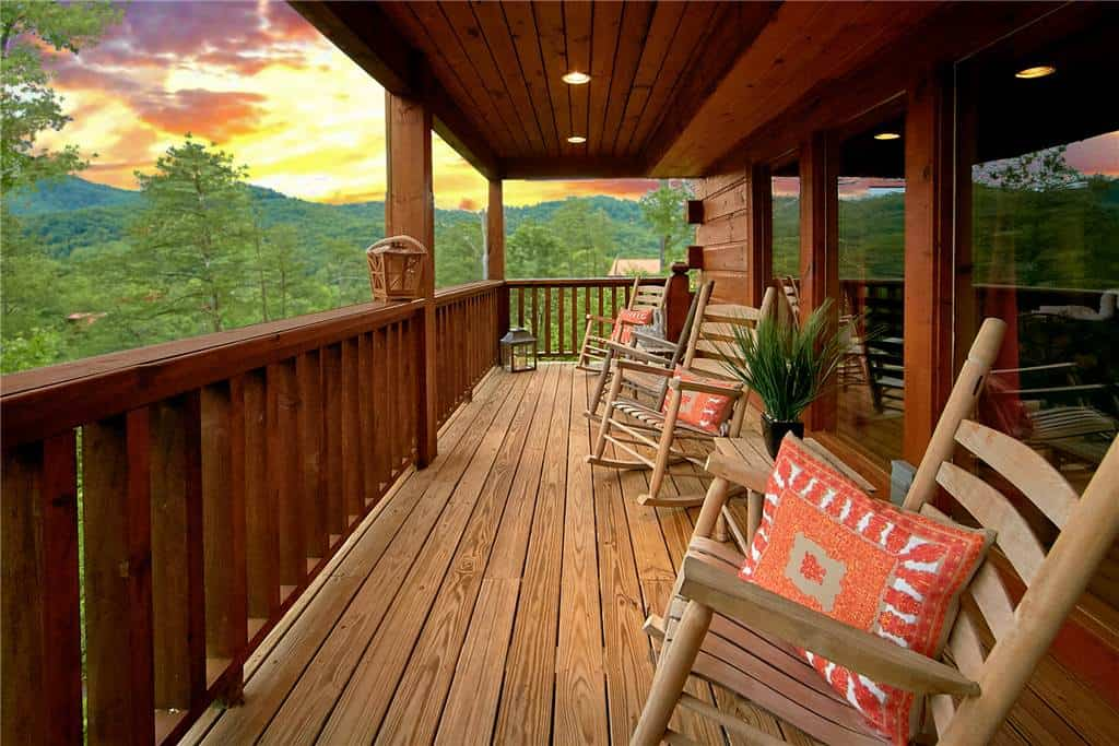 Majestic view of the sunset from the deck of one of our 3 bedroom cabin rentals in Pigeon Forge TN.