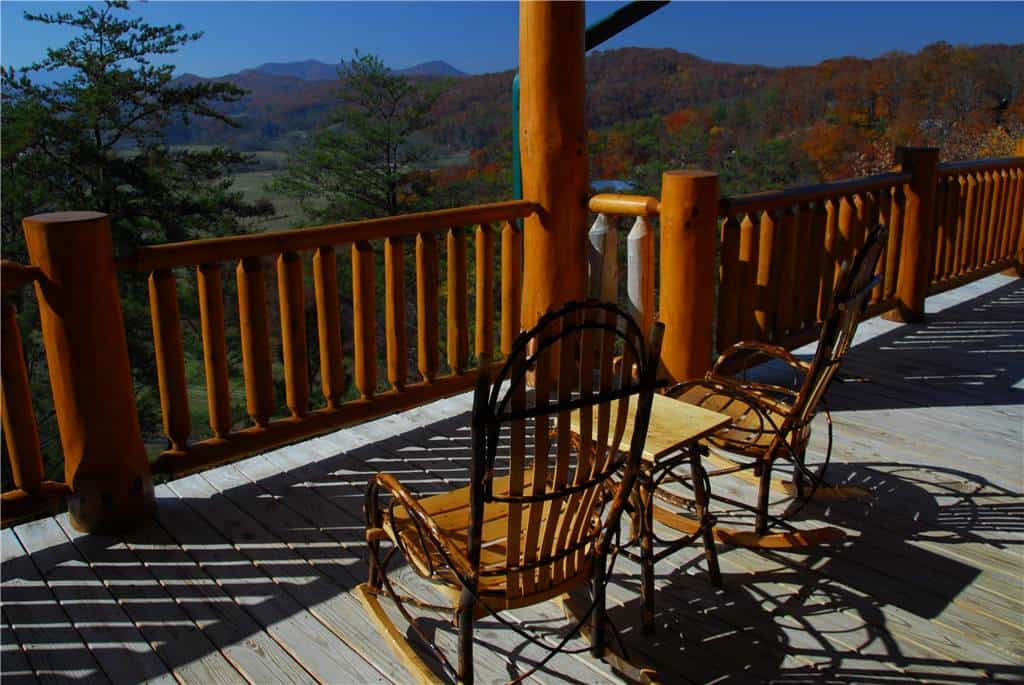 The deck of Lodge-Mahal, one of our Smoky Mountain vacation cabins.