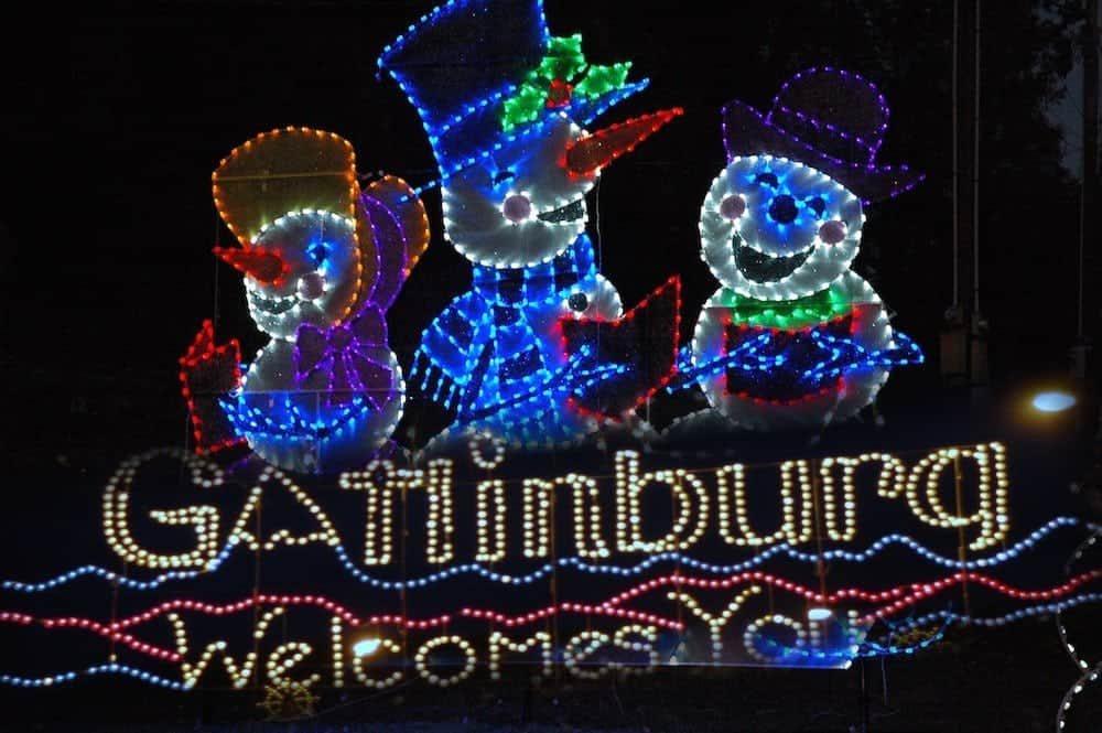 Winterfest Christmas lights, one of the top Gatlinburg winter attractions.