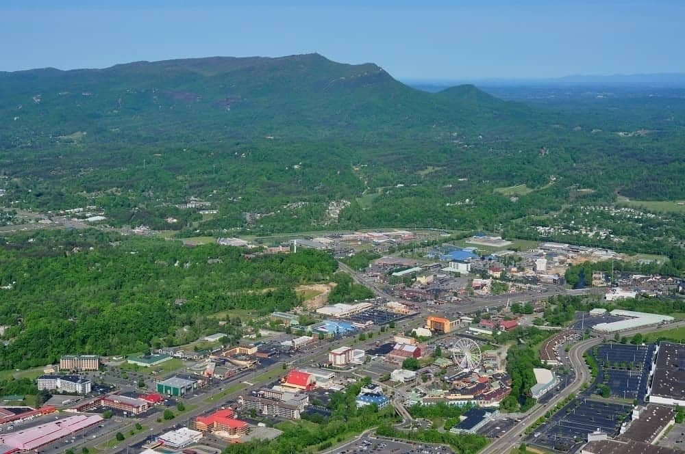 Beautiful aerial view of Pigeon Forge.