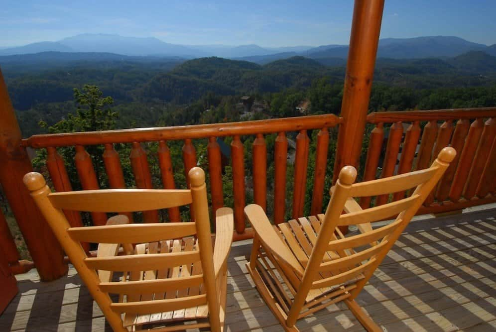 Incredible mountain views from the deck of the Bluebirds Over the Smokies cabin.