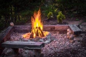 fire pit outside enchanted hideaway cabin in the smokies