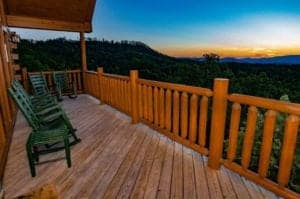 beautiful view from deck of cabin in the smokies